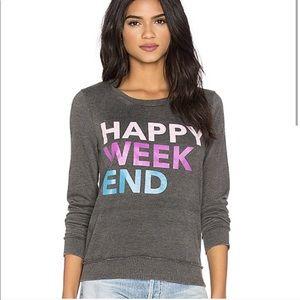 Chaser Happy Weekend Jumper Pullover Sweatshirt